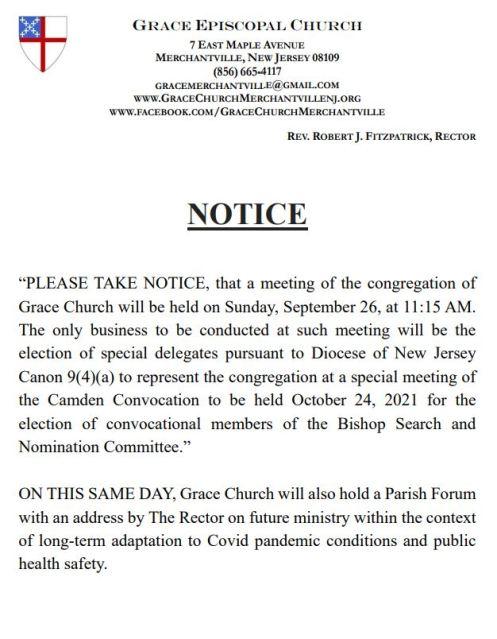 2021 0917 NOTICE CONVOCATION BISHOP SEARCH FUTURE COVID MINISTRY